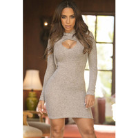 Fashion 2017 Trending Fashion Sexy Slim High Collar Neck Long Sleeve Package Hip Criss Cross Back Erotic One Piece Dress _ 12063