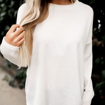 Just Ask Me Ribbed Sweater (Cream)