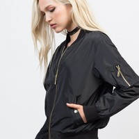 Golden Zip Up Bomber Jacket