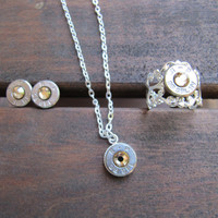 November Birthstone Bullet Jewelry Set with Earrings, Necklace and Ring with Swarovski Crystal Accents