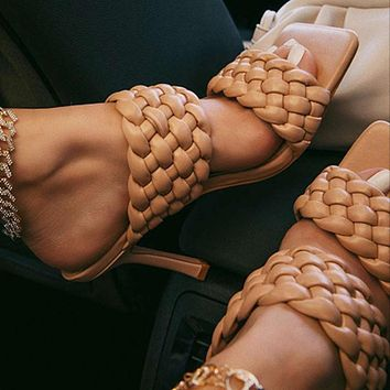 Outer wear woven generous square head fine super high heel ladies slippers
