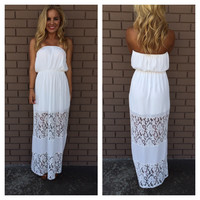 Keepsake Lace Strapless Maxi Dress - WHITE