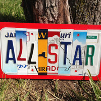 ALL STAR Kid's Room Recycled LICENSE Plate Art Red Sign Wall Decor