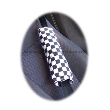 Black and White Check Chequered cotton seatbelt pads 1 pair
