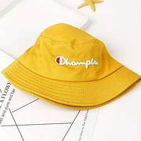 Champion Embroidery Round Bucket Hat Fisherman Cap Hat Yellow