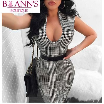 HOUNDSTOOTH SEXY SHEATH DRESS