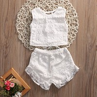 Pudcoco 2PCS Kid Baby Girl Clothes 2017 New Summer White Lace Toddler Kids Girls Floral Crochet Tops Shorts Outfits Set Clothes