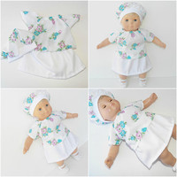 """FREE SHIPPING, bitty baby clothes, EASTER skirt hat blouse, floral flower, girl, or 15"""" twin doll, White Turquoise Lavender, handmade"""