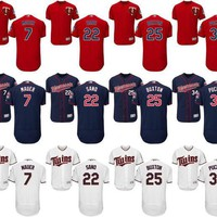 Men 7 Joe Mauer 22 Miguel Sano 25 Byron Buxton 34 Kirby Puckett 2 Brian Dozier Jersey , Men's Minnesota Twins Flexbase Collection Stitched