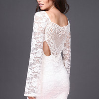 WHITE LACE AND CROCHET BELL SLEEVE DRESS