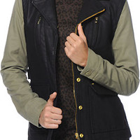 Obey Hearst Black & Army Green Faux Leather Jacket