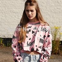 NEW arrive!!!Harajuku women brand Lazy oaf pink graffiti geometric cube smiley short section letters Pullover Sweatshirt women