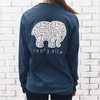 6 Color Summer Ivory Ella T-shirt Women Tops Tee Print Animal Elephant T Shirt Loose Long Sleeve Harajuku Tops