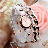 new fashion hot sale rivet leather bracelet watch chain table women watch pendant men's watches students watches = 1932627140