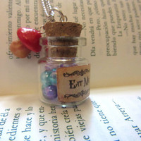 "Disney's Alice in Wonderland ""EAT ME "" mini bottle & magic mushroom charm  pendant necklace/ VIAL necklace/ Once upon a time"