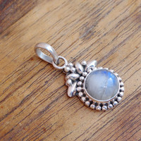 Tiny Moonstone Pendant, Rainbow Blue Moonstone Pendant 925 Sterling Silver moon stone Pendant Gift For Her, Moonstone Silver pendant Jewlery