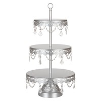 3-Tier Crystal-Draped Dessert Cupcake Stand (Silver)