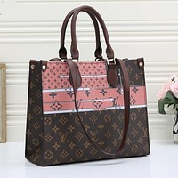 LV Louis Vuitton New Retro Color Block Printed Handbag Shoulder Bag Shopping Bag