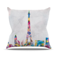 "Mareike Boehmer ""Paris"" City Rainbow Outdoor Throw Pillow"