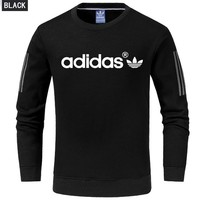 ADIDAS spring and autumn new men's cotton long sleeve pullover sweater Black
