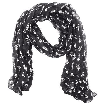 A breezy gauze lightweight scarf with skull & crossbones design throughout.