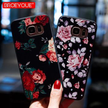BROEYOUE Case For iPhone 8 7 5 5S 6 6S Plus X 3D Relief Case For Samsung Galaxy S8 S9 Plus S7 Edge J3 J5 J7 A3 A5 A7 2016 2017
