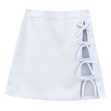 VFILES - SIDE SLIT BOW MINI SKIRT