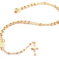 Two Year Warranty Gold Overlay Rosary Jesus On The Cross Pendant & Open Arms Charm 18 Inch Necklace