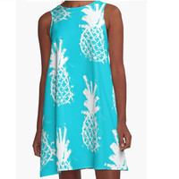 Turquoise blue A Line dress with pineapple print Cool dress for summer Beautiful dress Active dress Party dress Pineapple dress Ink painting