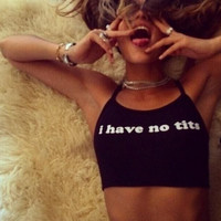 Black Halter Neck Letter Print Crop Top