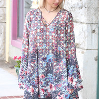 Wild Blooms Strappy V-Neck Tunic {Taupe Mix}
