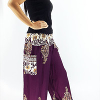 ST67 Women Harem Pants Yoga Pants Aladdin Pants Maxi Pants Baggy Pants Gypsy Pants Rayon Pants Genie Pants Comfy Trouser Flower Purple