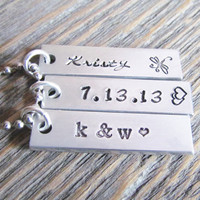 Necklace 3 Bar Tag Name Date Anniversary Wedding Hand Stamped Jewelry Charms Aluminum Personalized Initials Stainless Steel Chain Jewelry