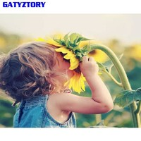 GATYZTORY Frameless Lovely Chid DIY Painting By Number Figure Painting Wall Art Picture Modern Calligraphy Painting For Home Art