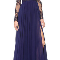 Blue Ruched V-Neckline Sheer Lace Sleeve Evening Dress