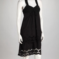 Black Tiered Crochet Halter Dress