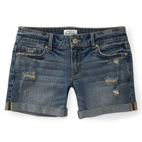 Aeropostale  Destroyed Medium Wash Denim Boyfriend Shorts