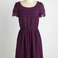 Mid-length Short Sleeves A-line One of a Kindhearted Dress in Plum
