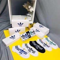 """Adidas"" Summer Unisex Couple Sport Casual Cotton Mesh Breathable Letter Boat Socks 5 Pairs Set"