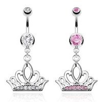 Clear Tiara Crown with Multi CZ Paved Navel Ring (Sold Individually)