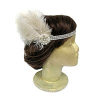 Flapper Headband, Great Gatsby Headpiece, Pearl and Rhinestone Headband, 1920s Accessories, Roaring 20s Headpiece with Beige Ivory Feather