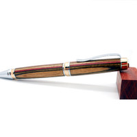 Hand turned pen, 24K Gold and Chrome Big Ben cigar twist pen featuring Royal Camo Spectraply, superior writing instrument, Father's Day gift