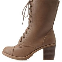 Taupe Lace-Up Chunky Heel Combat Boots by Charlotte Russe