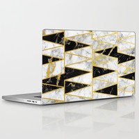 Mixed Marble Triangles // Gold Flecked Black & White Marble Laptop & iPad Skin by Samantha Ranlet | Society6