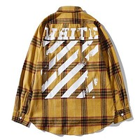 Off White New fashion letter stripe plaid print long sleeve coat shirt