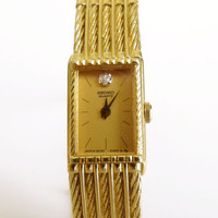 Retro 80s SEIKO Diamond ladies watch quartz Retro slim Seiko ladies gold watch bracelet