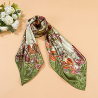 Womens Head Scarves Soft Silk Feel Satin Square Scarf Shawl Green Red