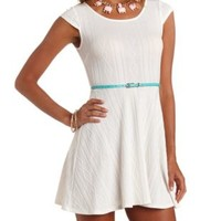 Cable Knit Cap Sleeve Belted Skater Dress by Charlotte Russe