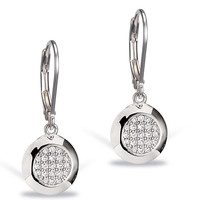 Women's Sterling Silver Micro Pave CZ Lever Back Earrings, SCINTILLATIONS Collection
