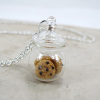 Chocolate Chip Cookie Jar Necklace by CuteAbility on Etsy